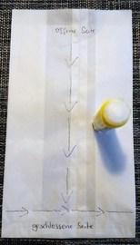 Schritt 2: Mit dem Klebestift nun entlang der Linie (siehe Bild) in T-Form einen Klebestreifen auf der ersten Tüte machen
